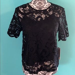 NWT Nanette Lepore Lace Tank Lined Bow Tie Blouse